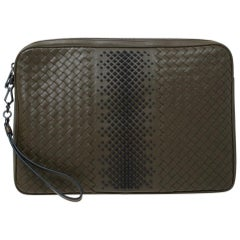 Bottega Veneta Olive Green Intrecciato Leather Laptop Case