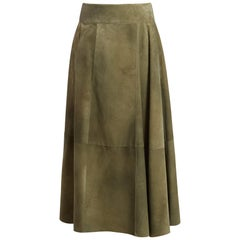 BOTTEGA VENETA olive green suede leather PANELED Midi Skirt 40 S