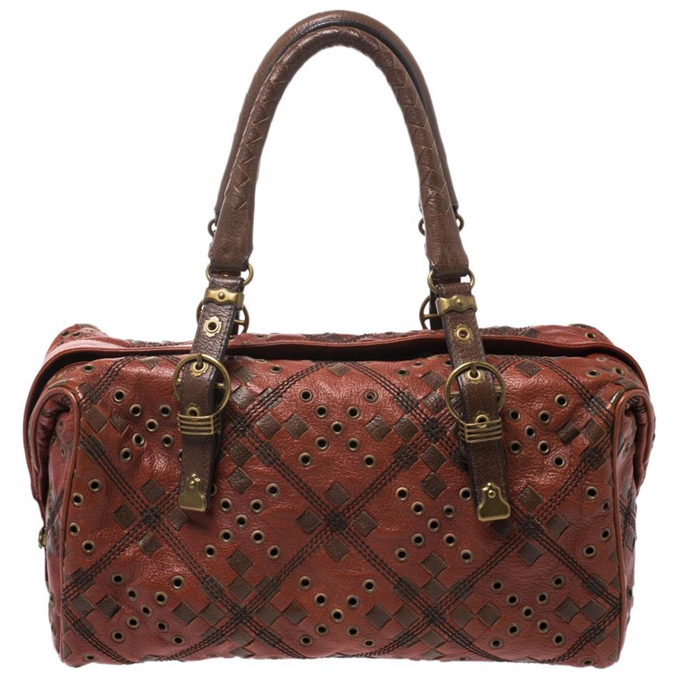 Bottega Veneta Orange/Brown Leather Grommet Boston Bag