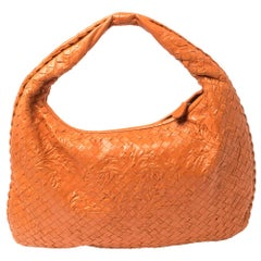 Bottega Veneta Orange Clementine Intrecciato Leather Limited Edition Veneta Hobo