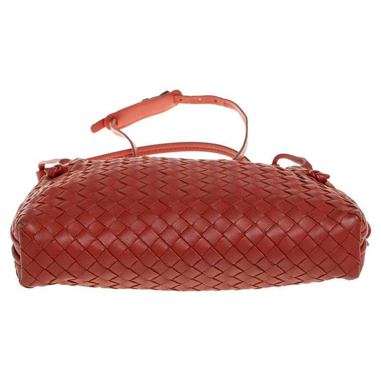 Women's Bottega Veneta Orange Intrecciato Leather Nodini Crossbody Bag For Sale