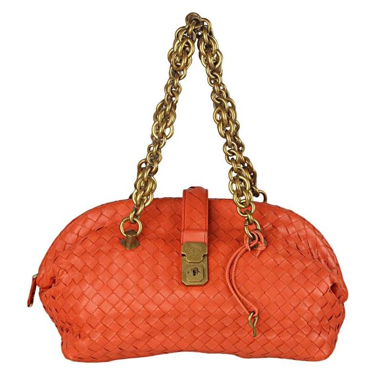 1ab7b478fa2 Bottega Veneta Orange Intrecciato Woven Leather Bowling Bag For Sale ...