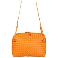 BOTTEGA VENETA orange leather INTRECCIATO NODINI Crossbody Shoulder Bag