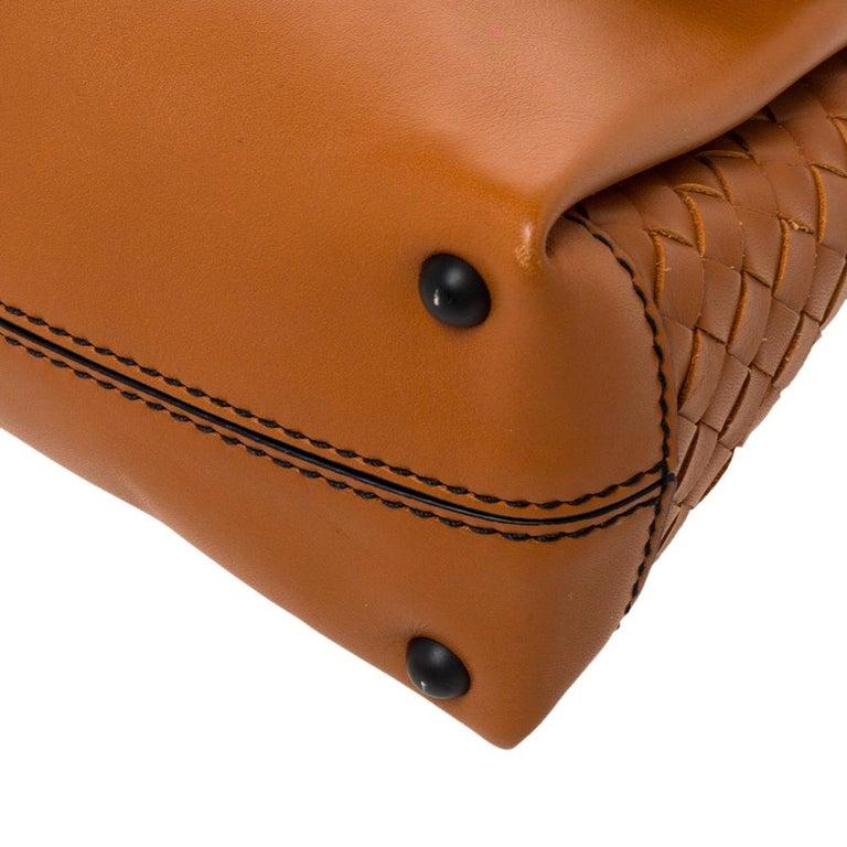 Bottega Veneta Orange Leather Mini Piazza Top Handle Bag For Sale 6