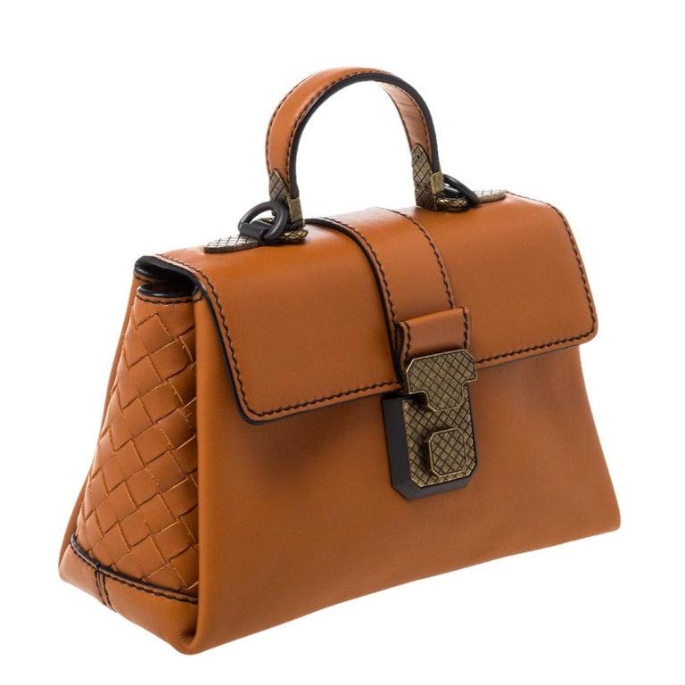 Women's Bottega Veneta Orange Leather Mini Piazza Top Handle Bag For Sale