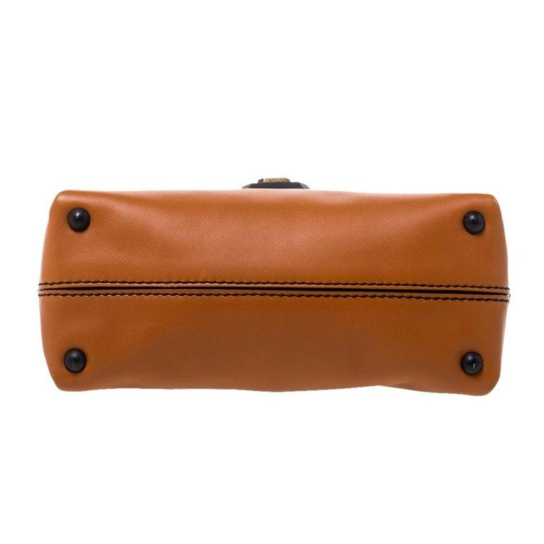 Bottega Veneta Orange Leather Mini Piazza Top Handle Bag For Sale 1