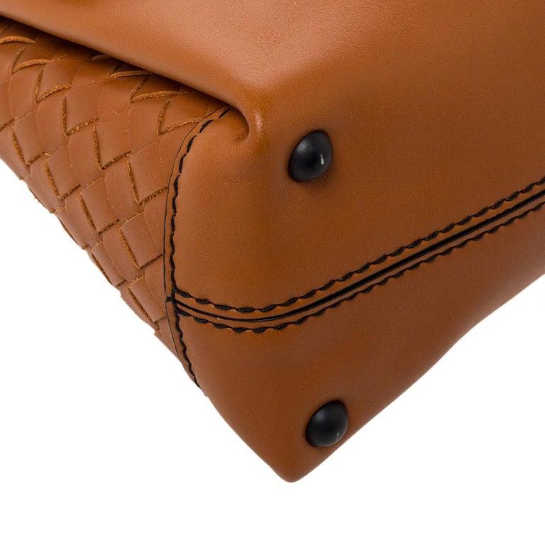 Bottega Veneta Orange Leather Mini Piazza Top Handle Bag For Sale 2