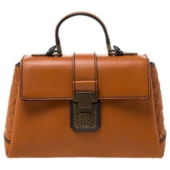 Bottega Veneta Orange Leather Mini Piazza Top Handle Bag