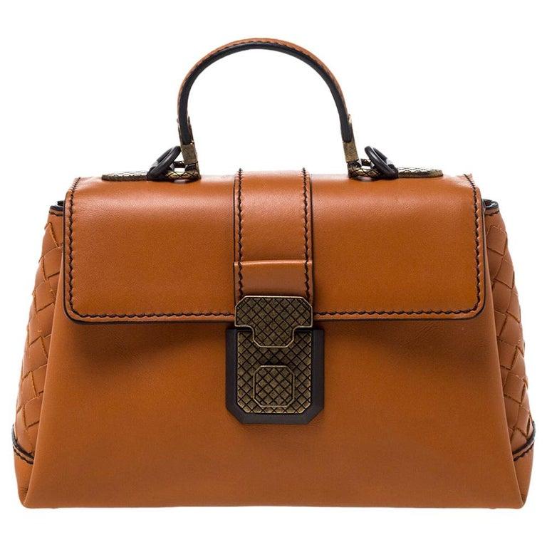 Bottega Veneta Orange Leather Mini Piazza Top Handle Bag For Sale