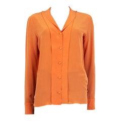 BOTTEGA VENETA orange silk Button Up Shirt Blouse 38 XS