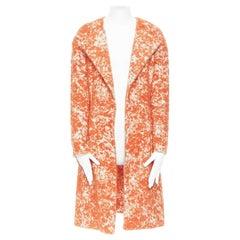 BOTTEGA VENETA orange white embroidered boucle spread collar cocoon coat IT40 S