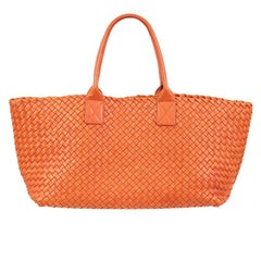 BOTTEGA VENETA orange woven leather SMALL CABAS Tote Shopper Bag