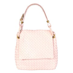 BOTTEGA VENETA pale pink leather INTRECCIATO FLAP Shoulder Bag