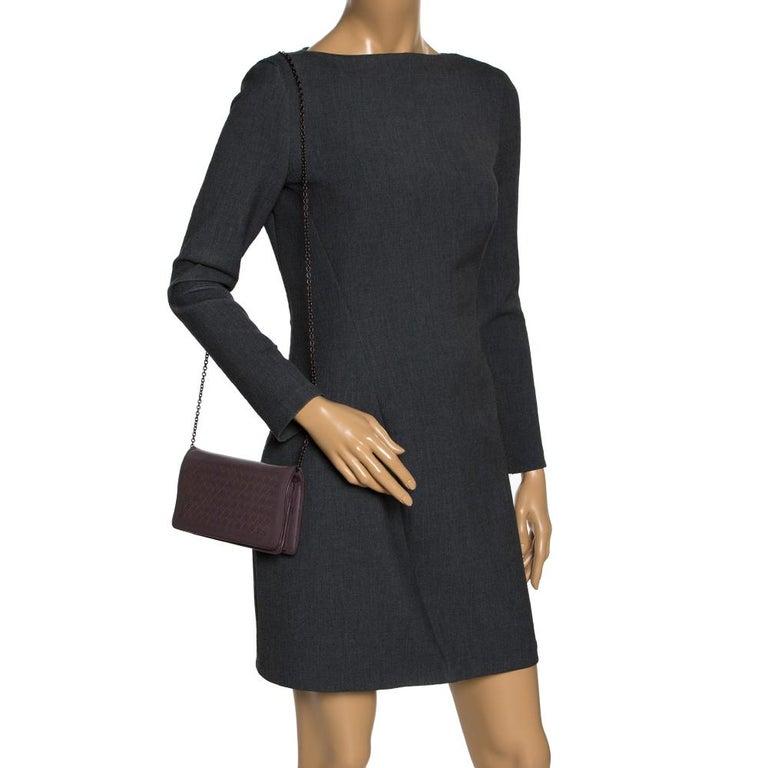 Gray Bottega Veneta Pale Purple Intrecciato Leather Flap Chain Clutch For Sale