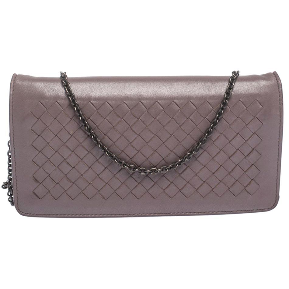 Bottega Veneta Pale Purple Intrecciato Leather Flap Chain Clutch