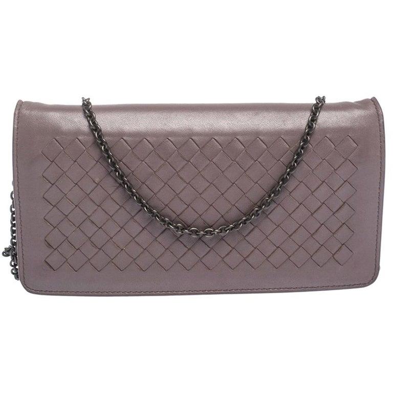 Bottega Veneta Pale Purple Intrecciato Leather Flap Chain Clutch For Sale