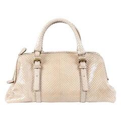 BOTTEGA VENETA pale taupe PYTHON Top Handle Bag