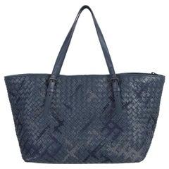 BOTTEGA VENETA petrol blue woven leather CRESTA MEDIUM Shopper Shoulder Bag