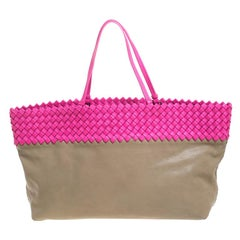 Bottega Veneta Pink/Beige Top Woven Leather Shopper Tote