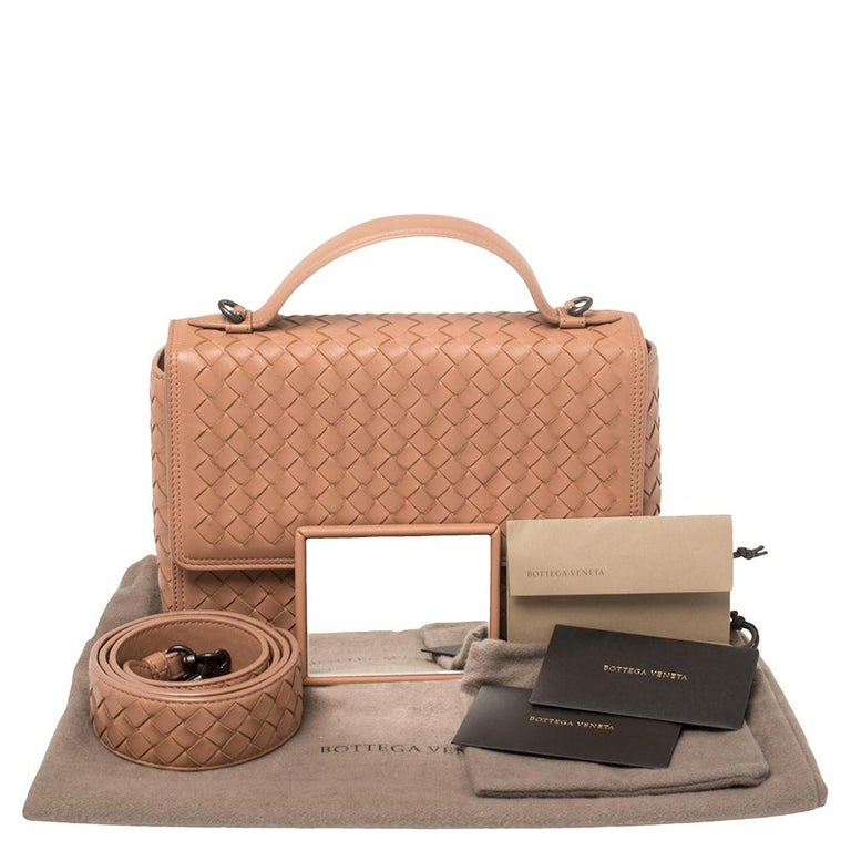 Bottega Veneta Pink Intrecciato Leather Alumna Top Handle Bag 7
