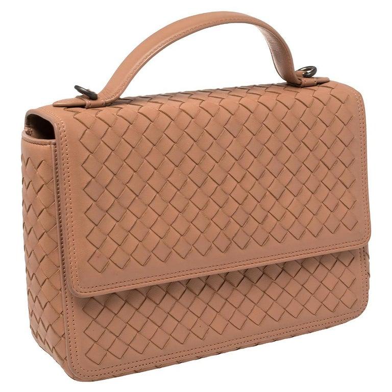 Brown Bottega Veneta Pink Intrecciato Leather Alumna Top Handle Bag