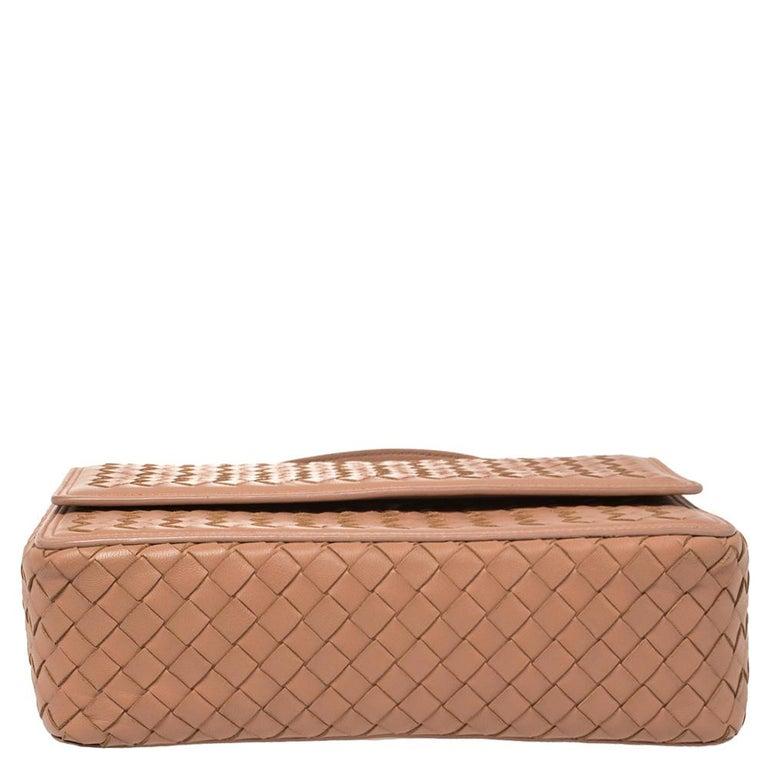 Bottega Veneta Pink Intrecciato Leather Alumna Top Handle Bag In Good Condition In Dubai, Al Qouz 2