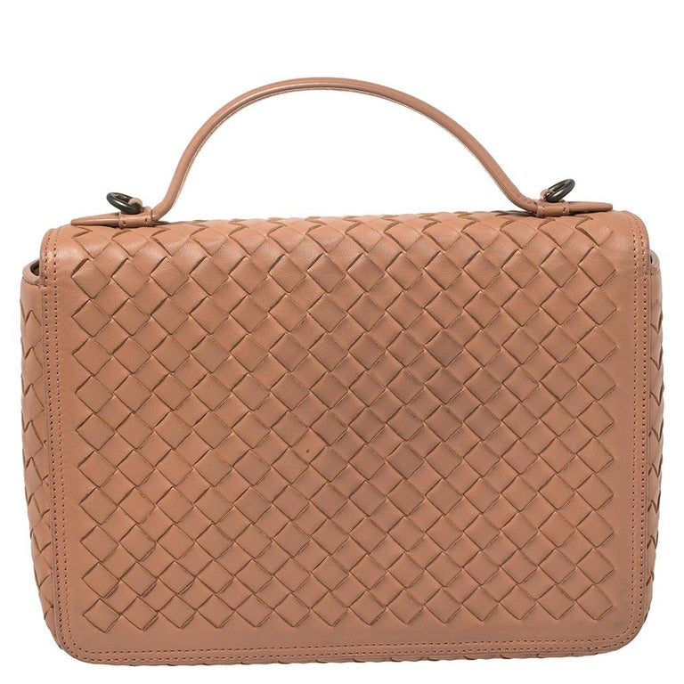 Women's Bottega Veneta Pink Intrecciato Leather Alumna Top Handle Bag