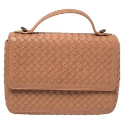 Bottega Veneta Pink Intrecciato Leather Alumna Top Handle Bag