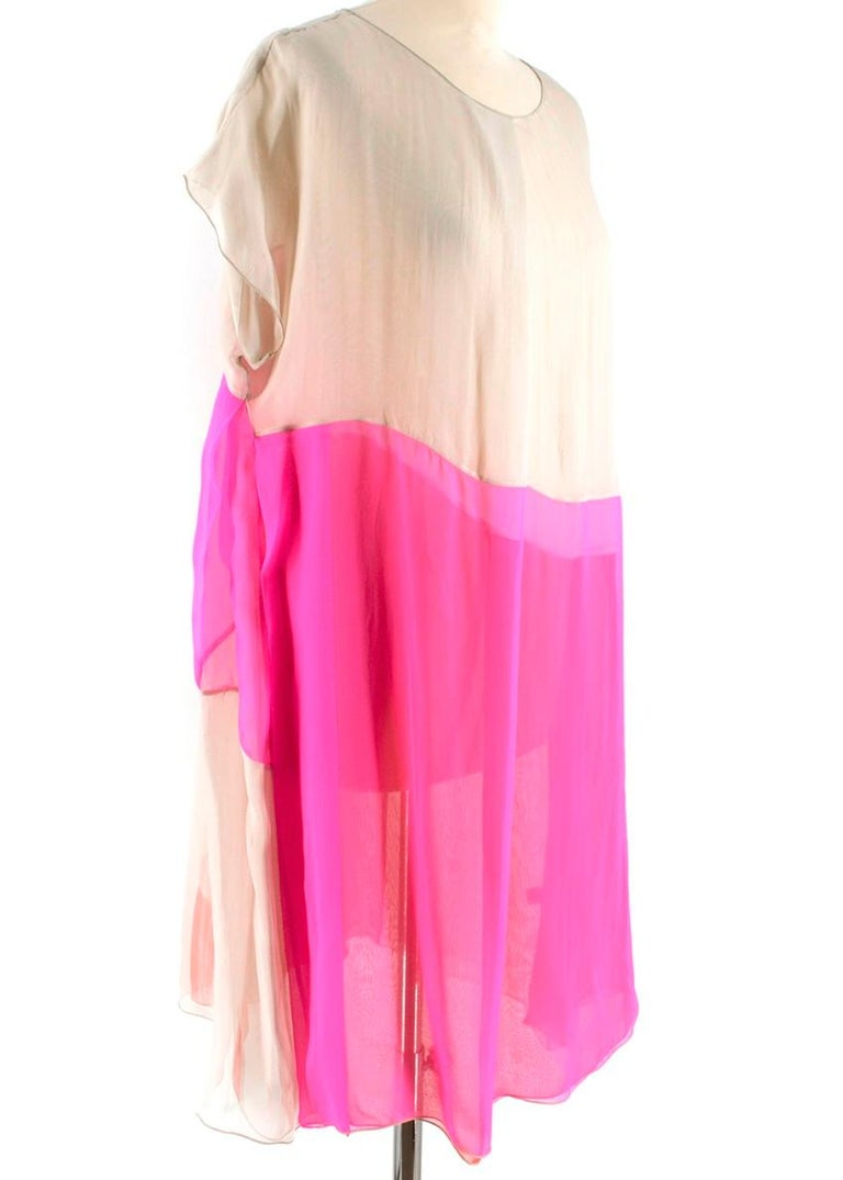 Bottega Veneta Pink Layered silk-chiffon dress - Pale-taupe sheer double-layered silk-chiffon - Hot-pink and tangerine panels - Slips on - Light weight delicate material   Materials 100% silk  Dry Clean Only   Please note, these items are pre-owned