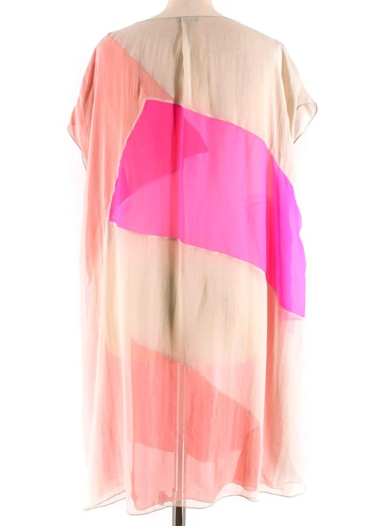 Bottega Veneta Pink Layered silk-chiffon draped dress M 44 In New Condition For Sale In London, GB