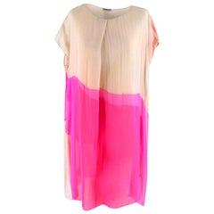 Bottega Veneta Pink Layered silk-chiffon draped dress M 44