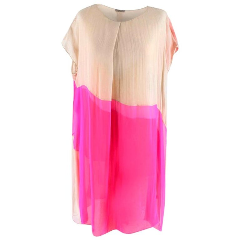 Bottega Veneta Pink Layered silk-chiffon draped dress M 44 For Sale