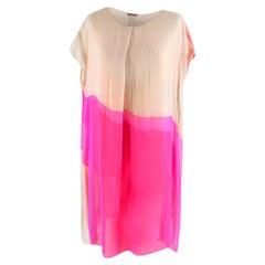Bottega Veneta Pink Layered silk-chiffon draped dress - Size US 8