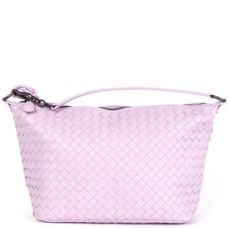 Gray BOTTEGA VENETA pink woven leather INTRECCIATO SMALL HOBO Shoulder Bag For Sale