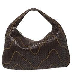 Bottega Veneta Plum Intrecciato Leather Large Chain Embellished Veneta