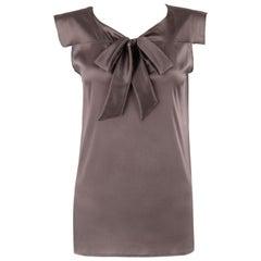 BOTTEGA VENETA Pre Fall 2013 Gray Purple Silk Tie Front Cap Sleeve Blouse Top
