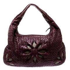 Bottega Veneta Purple Intrecciato Leather Flower Hobo