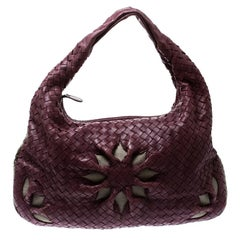 Bottega Veneta Purple Intrecciato Leather Flower Hobo