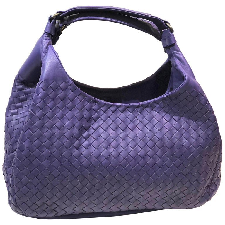 Bottega Veneta Purple Intrecciato Leather Hobo Bag For Sale