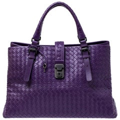 Bottega Veneta Purple Intrecciato Leather Medium Roma Tote