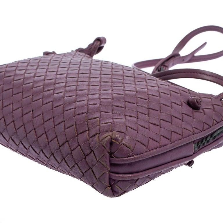 Bottega Veneta Purple Intrecciato Leather Nodini Crossbody Bag For Sale 7