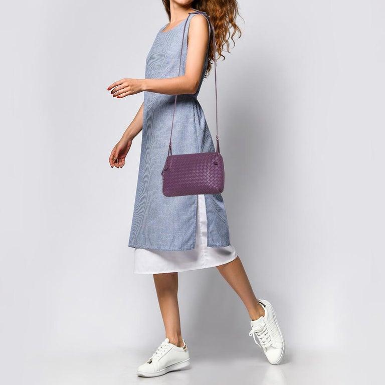 Gray Bottega Veneta Purple Intrecciato Leather Nodini Crossbody Bag For Sale