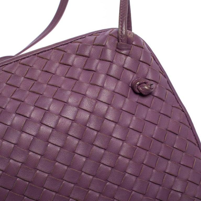 Bottega Veneta Purple Intrecciato Leather Nodini Crossbody Bag For Sale 3