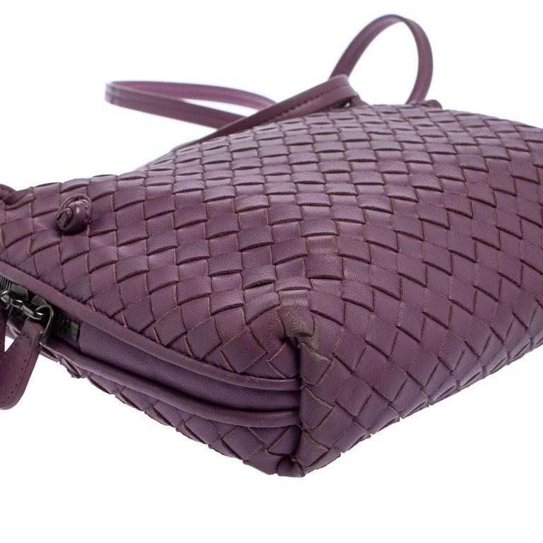 Bottega Veneta Purple Intrecciato Leather Nodini Crossbody Bag For Sale 4