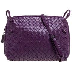 Bottega Veneta Purple Intrecciato Leather Nodini Crossbody Bag