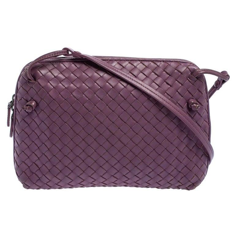 Bottega Veneta Purple Intrecciato Leather Nodini Crossbody Bag For Sale