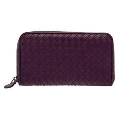 Bottega Veneta Purple Intrecciato Leather Zip Around Continental Wallet