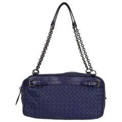 BOTTEGA VENETA purple leather & Karung Intrecciato Chain Shoulder Bag
