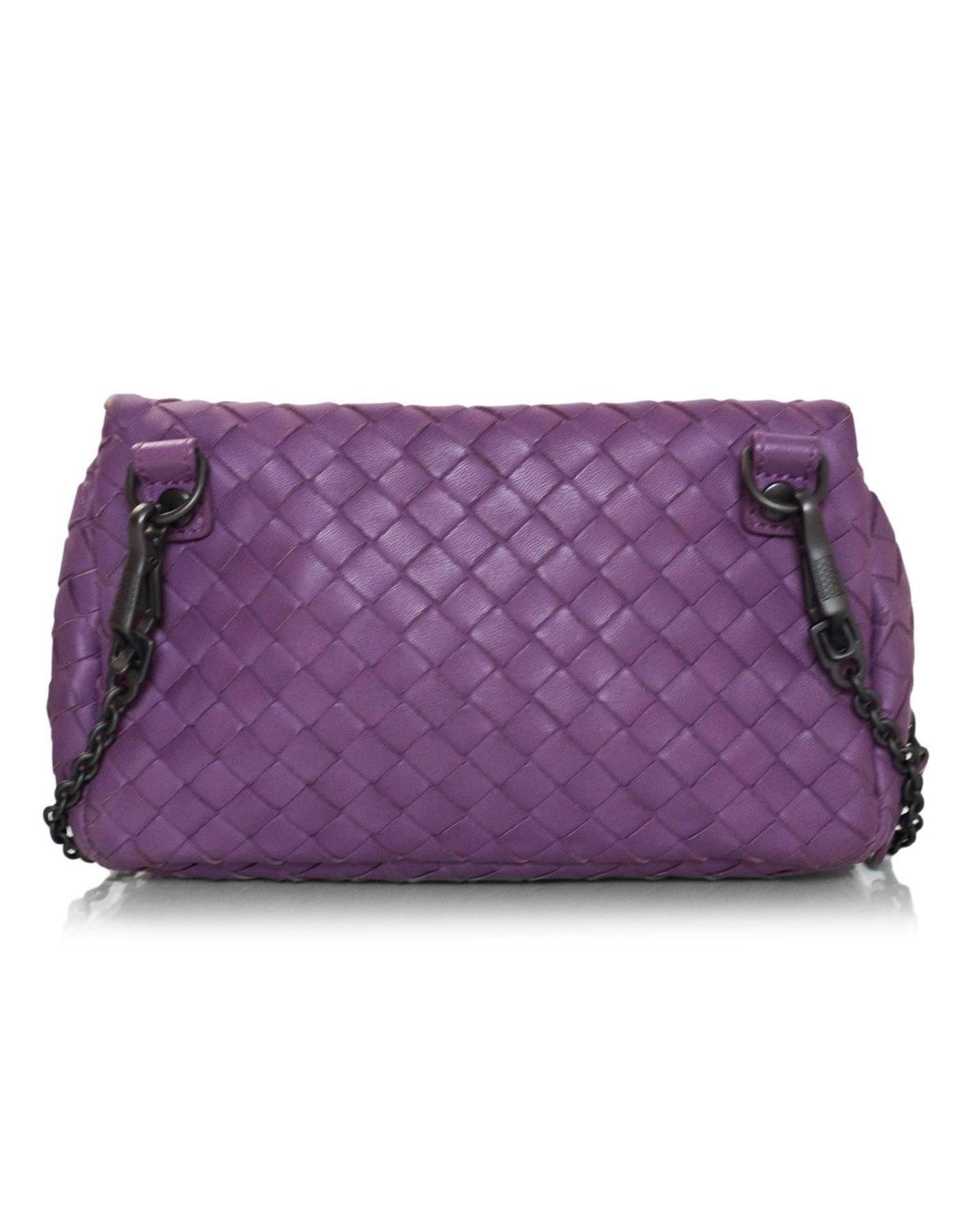 Bottega Veneta Purple Nappa Intrecciato Small Chain Crossbody Bag rt.   1 d44012abc7764