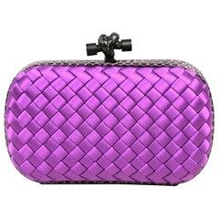Bottega Veneta Purple Satin Intrecciato Impero & Ayers Snakeskin Knot Clutch Bag